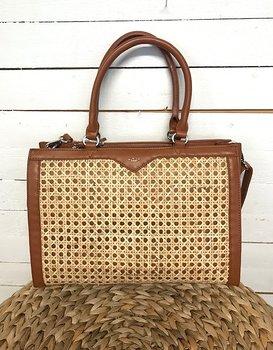 Handväska rotting med dubbla handtag, brun -  Ulrika Design