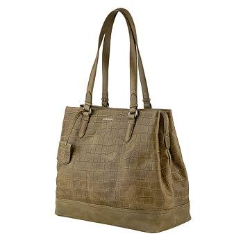 Handväska Caia croco grön/beige  - Burkely