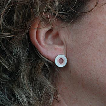 Cirkel - örhänge i silver och koppar