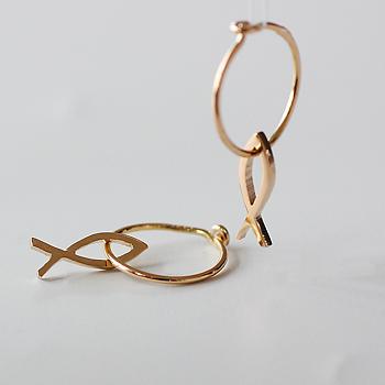 Kompass - liten fisk i silver eller 18 karat