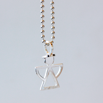 Gloria, small with dress - sterling silver pendant