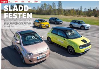 Vi Bilägare 2021/09 Biltest: Fiat Nya 500 / Honda E / Mazda MX-30 / Mini Cooper SE / Peugeot e-208