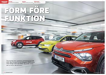 Vi Bilägare 2021/08 Biltest: Citroën C4 / Peugeot 2008 / Volkswagen Golf
