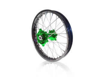 ART MX Complete Front + Rear Wheel 21x1,60/19x2,15 Black Rim/Green Hub Kawasaki KX450 19-21