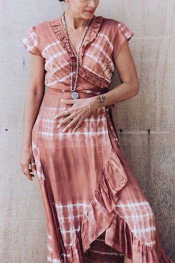 Coconutmilk By Stajl - Long Wrap Dress Tie Dye Red Velvet