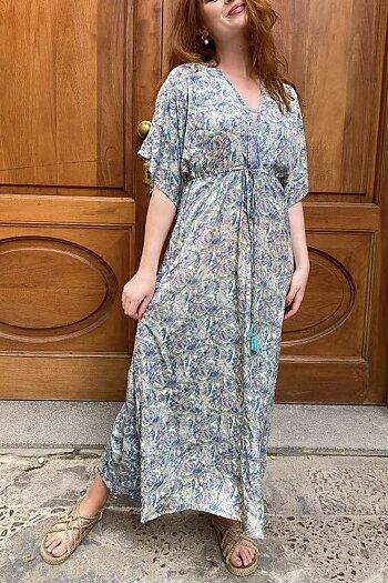 Black Color - Luna Long V-Neck Dress Pastel Mint