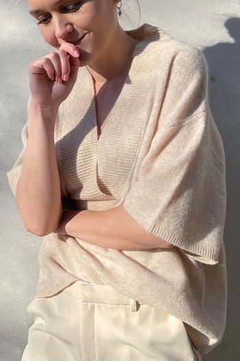 Neo Noir - Kally Knit Blouse Sand Melange
