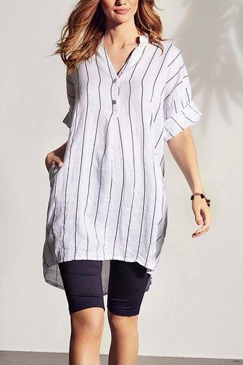 In Front - Lino Tunic Cream Stripe