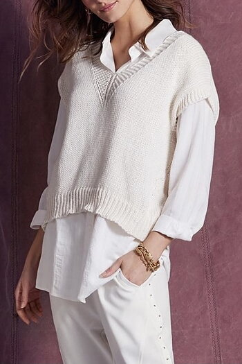 In Front  - Masha Knit Vest Off White