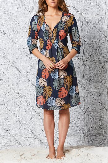 One Season  - Middy Poppy  Elba  Cotton Navy
