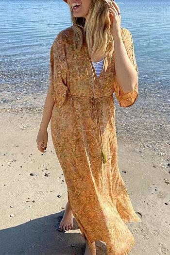Black Color - Luna Long V-Neck Dress Peach Paisley