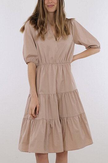 Neo Noir - Rosie Poplin  Dress Camel
