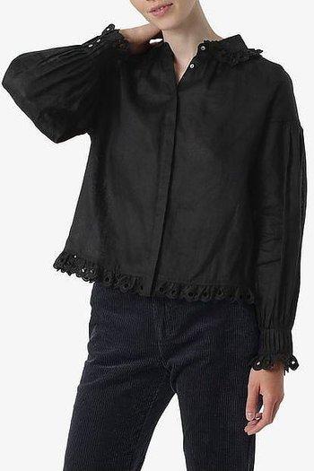 Noa Noa - Organic Linen Deco Blouse Black