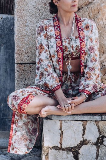 Coconutmilk By Stajl - Kimono Hibiscus Border Red