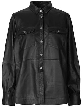 Second Female Gitte Leather Shirt, Black