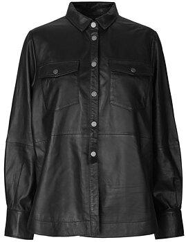 Second Female Gitte Leather Shirt, Black