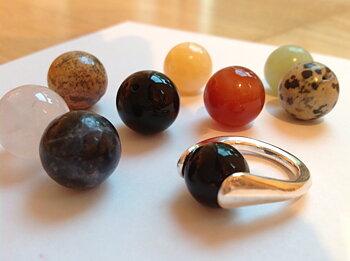 Ring Färgklick, med rund sten eller pärla