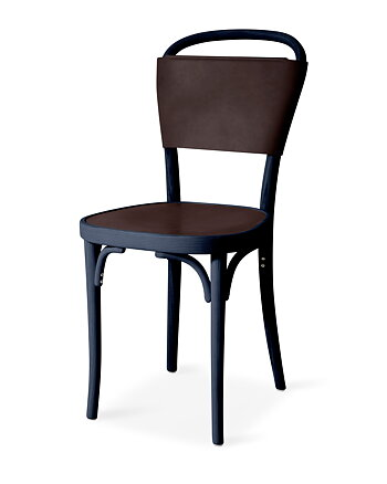 Chair, VILDA 3, Jonas Bohlin, Blues Blue /  Dark Brown  leather.