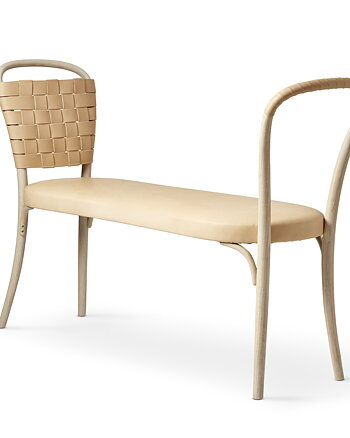 Bench, VILDA, Jonas Bohlin, White oiled ash / natural leather.