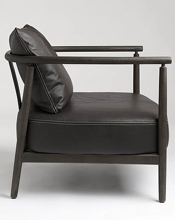 Armchair, HUMBLE, Pierre Sindre,  Wood Black /  Leather Black