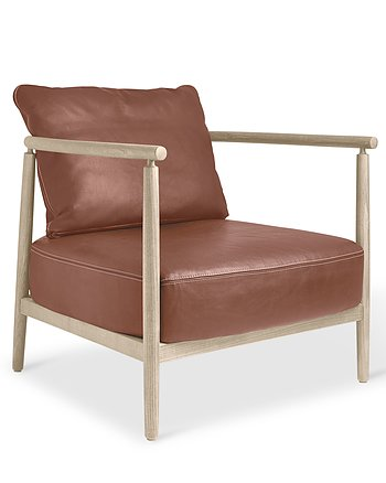 Armchair, HUMBLE, Pierre Sindre,  Wood White Oil /  Leather Cognac