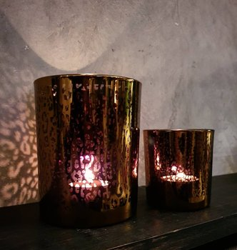 Ljuslykta 2/set - Leopard Gold