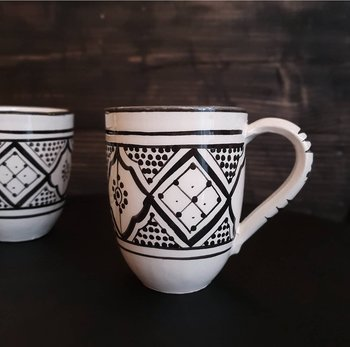 Marockansk Keramik - Mugg med handtag Svart