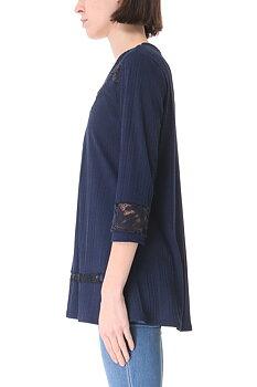 Tunika med v-ringning och spetsinsats, marinblå