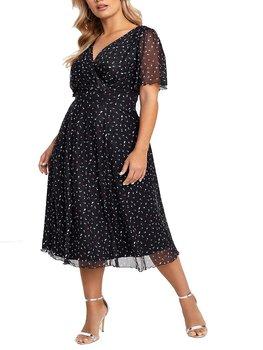 Klänning med söta hjärttryck, svart