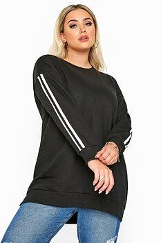 Sweatshirt med ränder, svart