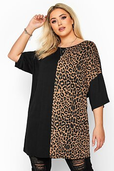 Tunika i blockdesign, brun leopard/svart