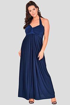 Långklänning med drapering, marinblå