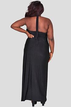 Långklänning med drapering, svart