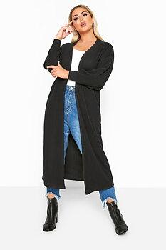 Cardigan i lång modell, svart