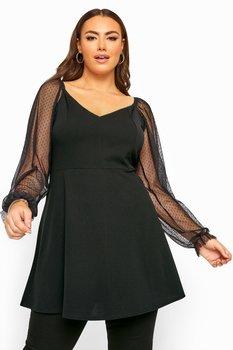 Tunika med prickiga meshärmar, svart