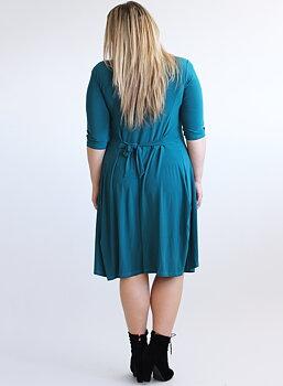Klänning med knappar och vippig kjol, petrol
