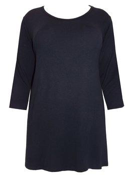Tunika med trekvartsärm och rund halsringning, svart