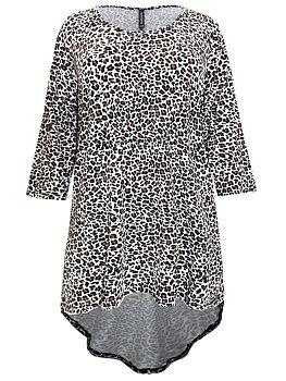 Tunika med trekvartsärm, leopard