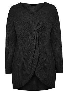 Stickad tröja med twistad front, svart