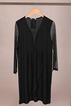Klänning med omlottkjol och meshdetaljer, svart