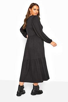 Klänning med smockpanel, svart