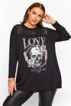 Sweatshirt med tryck, döskalle/love