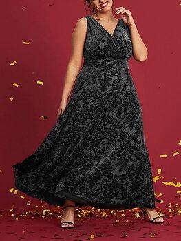 Klänning med sammetsmönster, svart
