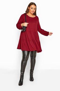 Tunika med smockpanel och långa ballongärmar, vinröd