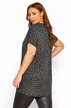 Topp med kort ärm, grå leopard