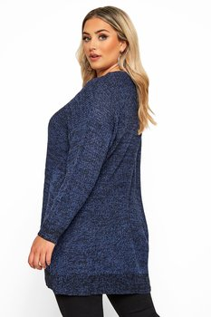 Stickad tröja med lång ärm, blå