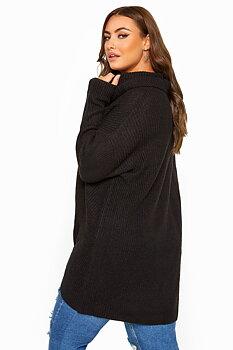 Stickad tröja med polokrage, svart