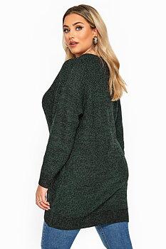 Stickad tröja med lång ärm, grön