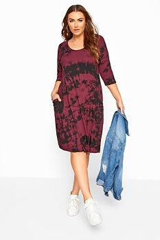 Klänning i swingmodell med fickor, vinröd batik