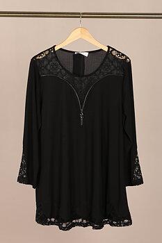 Tunika med spetsdetaljer, svart
